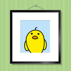 Single Yellow Chick in Picture Frame