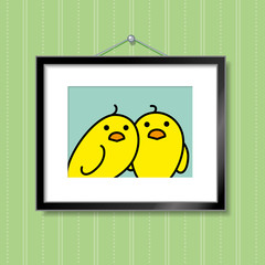 Couple of Yellow Chicks in Picture Frame