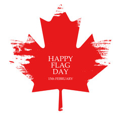 National Flag Day of Canada greeting card. Maple leaf on white background. Vector Illustration.