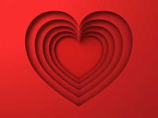 Red paper cut heart holes valentines day card background with shadow 3D rendering