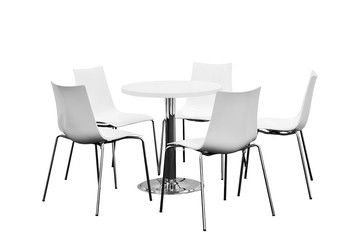 Few chairs around table, nobody, Isolated on white background