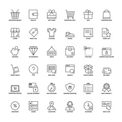Outline icons. Shopping