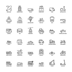 Outline icons. Transport