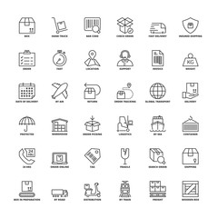 Outline icons. Shipping and logistics