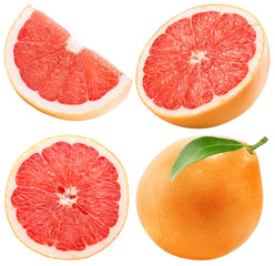 set of grapefruit isolated on the white background