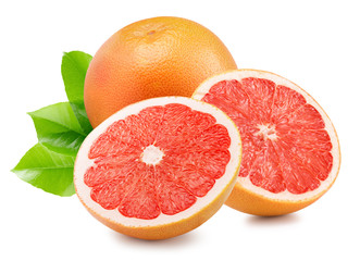 grapefruit with slices isolated on the white background