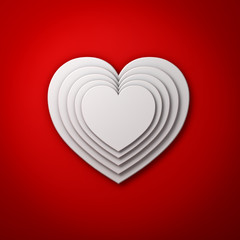 White heart shapes on red wall background with shadow, valentines day background 3D rendering