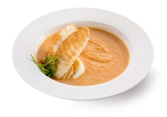 carrot cream soup on the white background