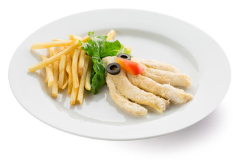 potato fries with chicken in shape of octopus