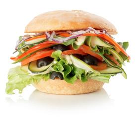 veggie burger isolated on the white background