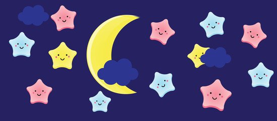 Cute kawaii stars and crescent. Background for kids, babies and children design with night sky characters