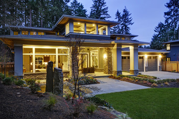 Luxurious new construction home exterior