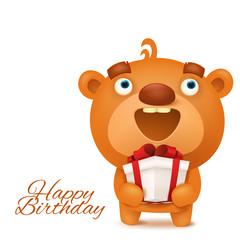 Brown funny emoji teddy bear with gift box