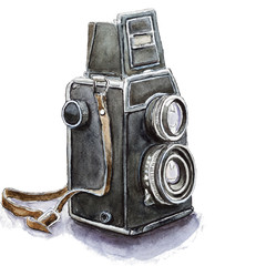 Watercolor sketch of retro camera, isolated on white.