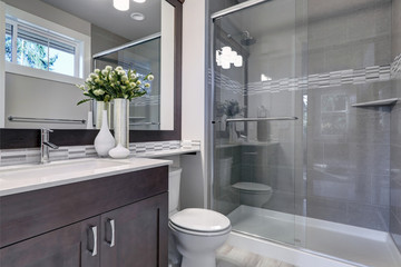 Bright new bathroom interior with glass walk in shower