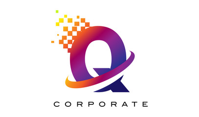 Letter Q Colourful Rainbow Logo Design.