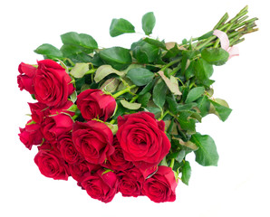 Bouquet of dark red rose flowers buds with green leaves isolated on white background