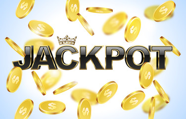 Black glossy jackpot text with crown in golden frame and falling coins background. Winner casino.
