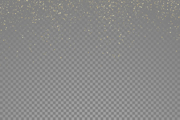 Sparkling gold glitter particles effect, golden glittering space star dust