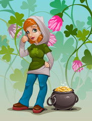 Pretty girl with pot of gold coins, St Patrik's Day illustration.
