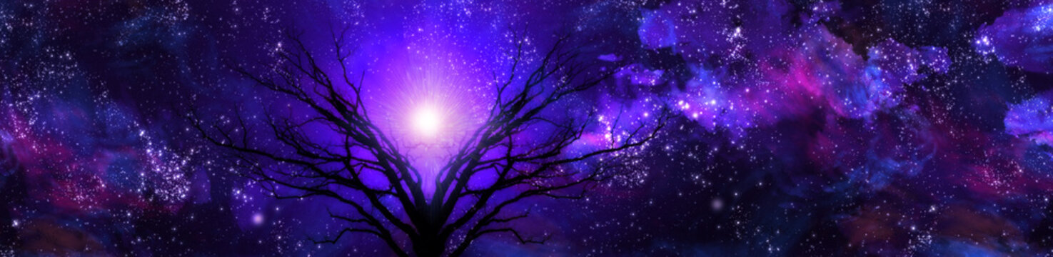 Purple landscape filled with stars  Some elements provided courtesy of NASA