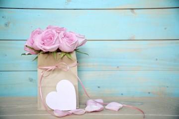Grußkarte - rosa Rosenstrauß - Nostalgisch, Vintage - rosa Rosen