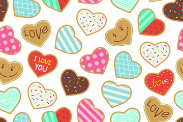 Heart shaped cookies seamless pattern