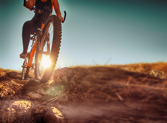 a woman riding a bicycle down a dirt trail with big rocks in the hills