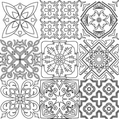 Big vector set of black and white tiles background.