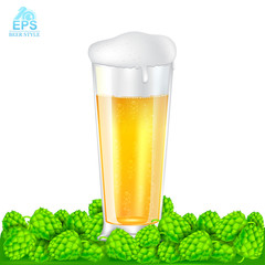 Realistic mock up long glass of beer stand among hop cones on white background