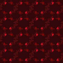 Happy Valentines day. Seamless pattern black background with red hearts. Vector illustration for romantic greeting.
