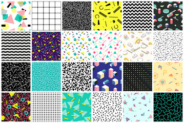 Abstract seamless patterns 80's-90's styles.