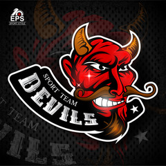 Satan face in profile with bared teeth. Logo for any sport team devils