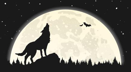 Silhouette Wolf heulend