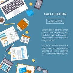 Calculation concept. Tax accounting. Financial analysis, analytics, data capture, planning, statistics, research. Documents, forms, charts, graphs, calendar, calculator, notebook, coffee, pen Top view