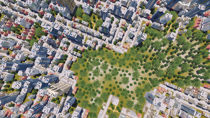 Straight overhead aerial view of abstract modern city district residential area with high rise buildings and green park zone. 3D illustration.