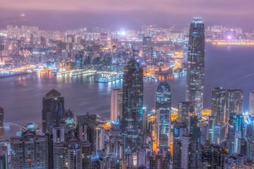 Victoria Harbor of Hong Kong,modern Asian city.