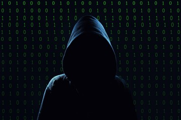 Hacker. Unrecognizable person in the hood break computer codes.