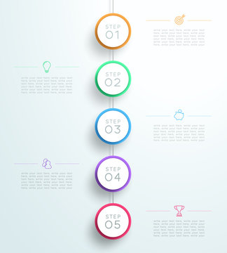 Infographic 5 3d Circle Steps Hanging Template C