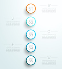 Infographic 5 3d Circle Steps Hanging Template A