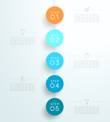 Infographic 5 3d Circle Steps Hanging Template B
