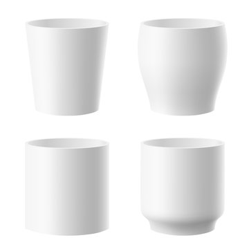 Vector set of realistic isolated white flower pot on white background.