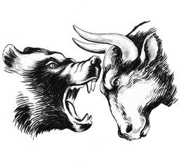 Bear fighting bull