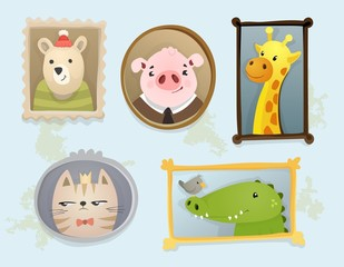 Illustration of cute cartoon handdrawn animal portraits framed