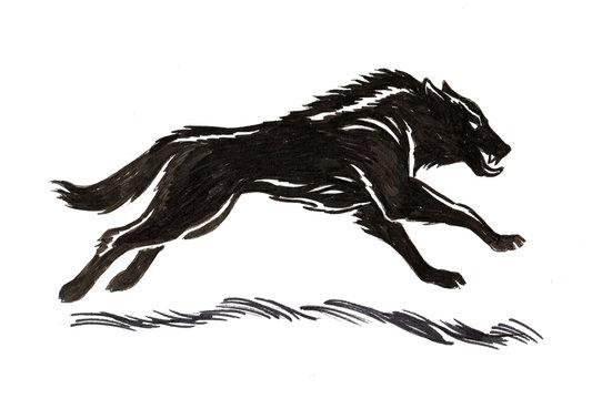 Running black wolf