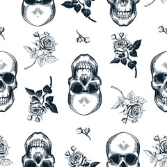 Grunge seamless pattern with monochrome human skulls in woodcut style and black and white wild roses on background. Vector illustration for wallpaper, textile print, wrapping paper