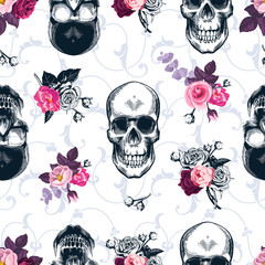 Floral seamless pattern with monochrome human skulls in woodcut style and colored wild roses on background. Vector illustration for wallpaper, textile print, wrapping paper