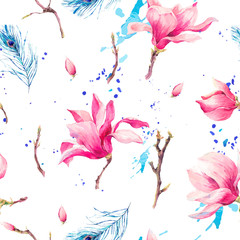 Watercolor Seamless Pattern with Flowers Magnolia