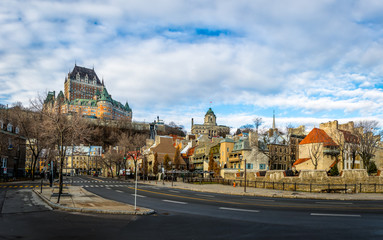 Fotomurales - Lower Old Town (Basse-Ville) and Frontenac Castle - Quebec City, Canada