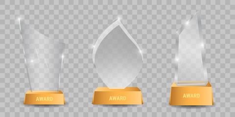 Trophy glass awards vector illustration